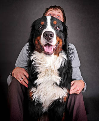 man with big dog