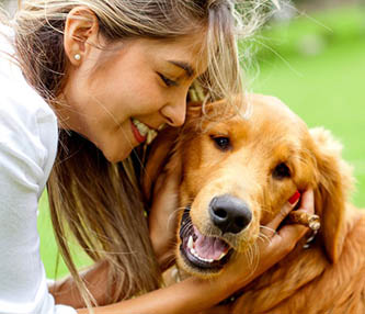 Woman and dog for acupressure